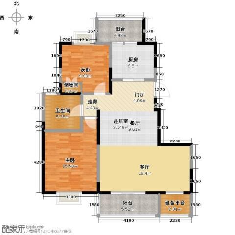 越湖名邸2室0厅1卫1厨100.00㎡户型图