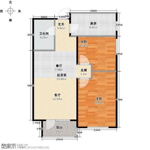 华润凯旋门2室0厅1卫1厨85.00㎡户型图