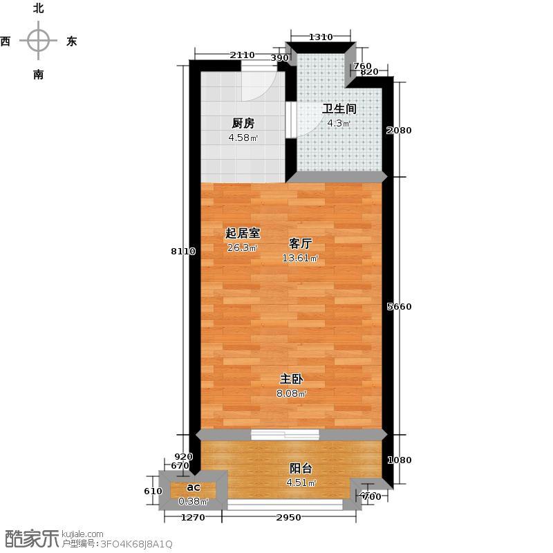 路劲御景城48.00㎡11号楼D户型约48平米一室一厅一卫户型