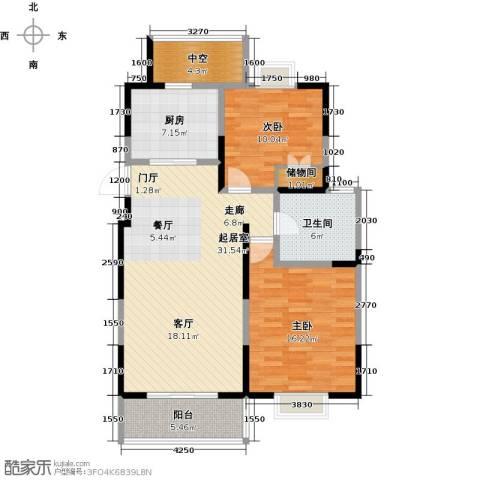 越湖名邸2室0厅1卫1厨92.00㎡户型图