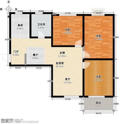 领秀冠南苑3室0厅1卫0厨109.00㎡户型图