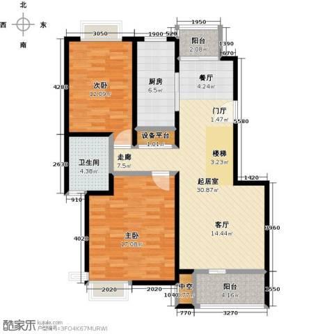 越湖名邸2室0厅1卫1厨90.00㎡户型图