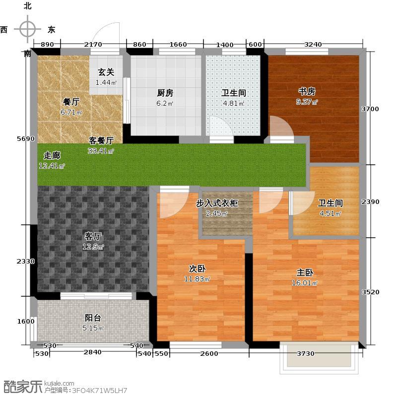 观湖壹号106.00㎡舒适小三房户型3室2厅1卫X-副本