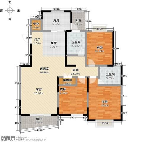 越湖名邸3室0厅2卫1厨129.00㎡户型图