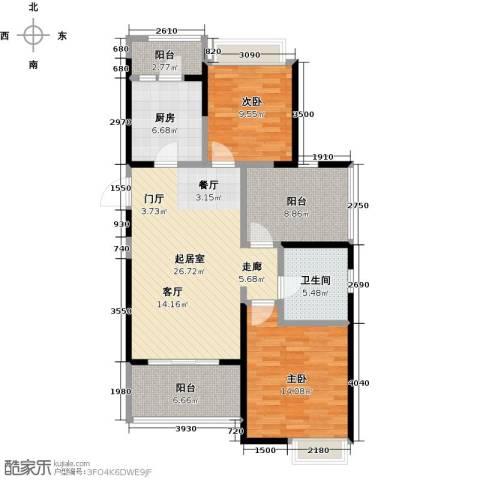 鑫苑鑫城2室0厅1卫1厨91.00㎡户型图