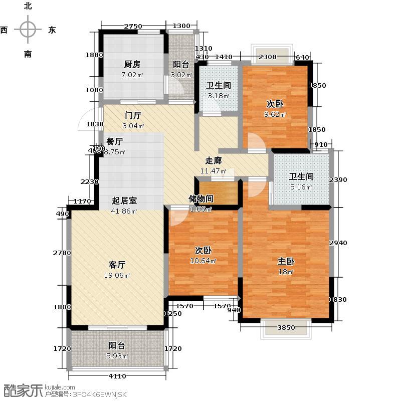 越湖名邸120.00㎡B户型三房两厅两卫120平米户型3室2厅2卫