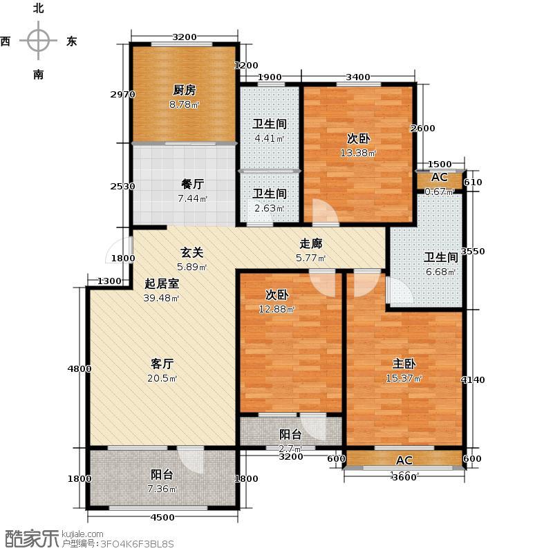 书香名苑124.00㎡G2户型3室2厅2卫