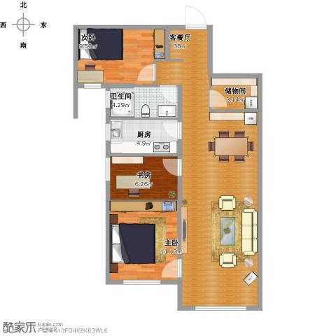 华远海蓝城3室1厅1卫1厨107.00㎡户型图