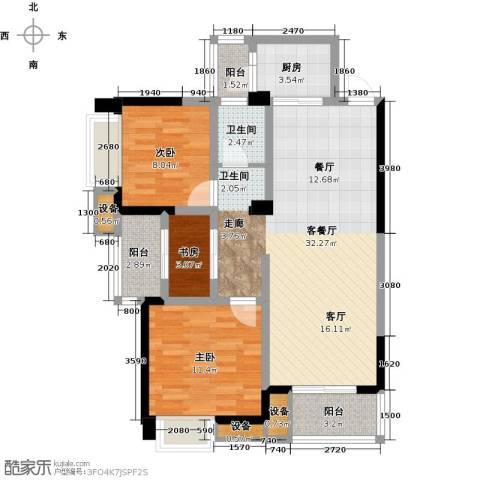 清江山水3室1厅1卫1厨98.00㎡户型图