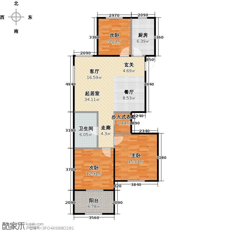 外海中央花园E16型三室两厅一卫98.37平户型