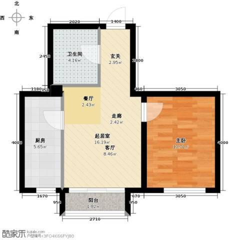 和泓四季恋城1室0厅1卫1厨56.00㎡户型图