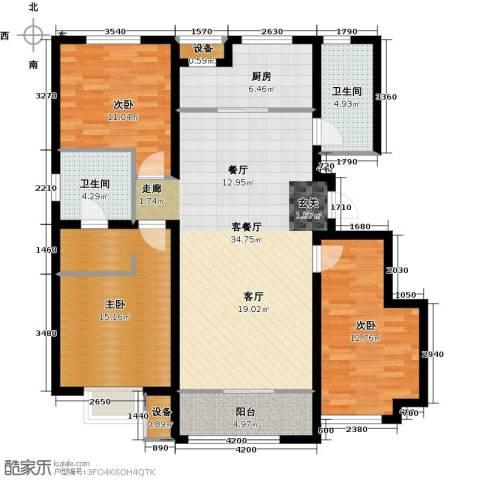 旭辉朗悦湾3室1厅2卫1厨128.00㎡户型图