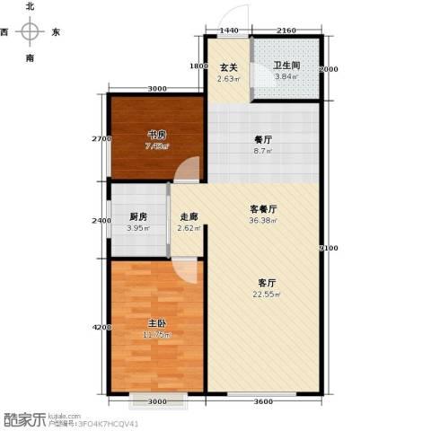 新华名座2室1厅1卫1厨85.00㎡户型图