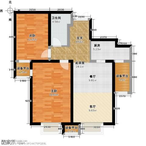 金融街和平中心2室0厅1卫1厨108.00㎡户型图