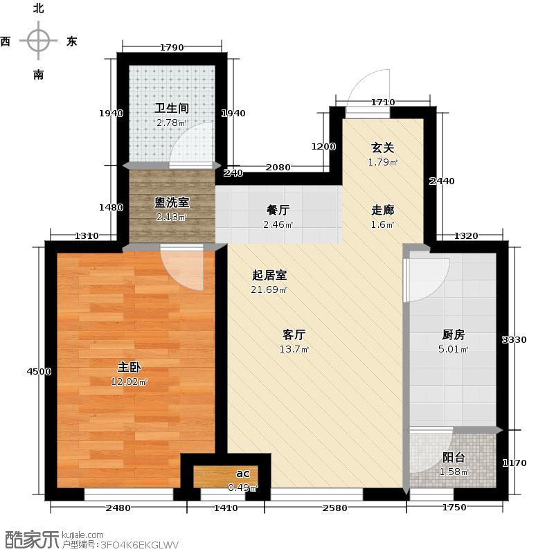 和泓四季恋城59.00㎡C2户型1室1厅1卫