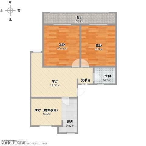 王金更小区2室1厅1卫1厨67.00㎡户型图