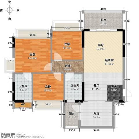 万好美域3室0厅2卫1厨99.00㎡户型图