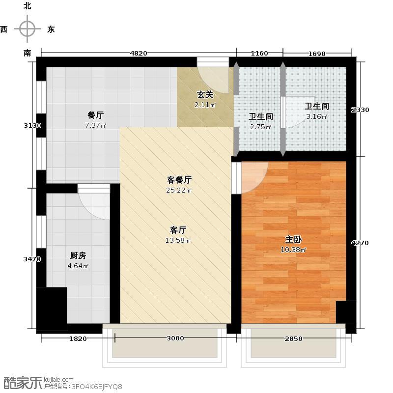 信恒锦园80.52㎡公寓smart F户型1室2厅1卫