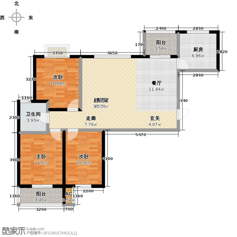 路劲御景城三室两厅一卫122平米G1户型