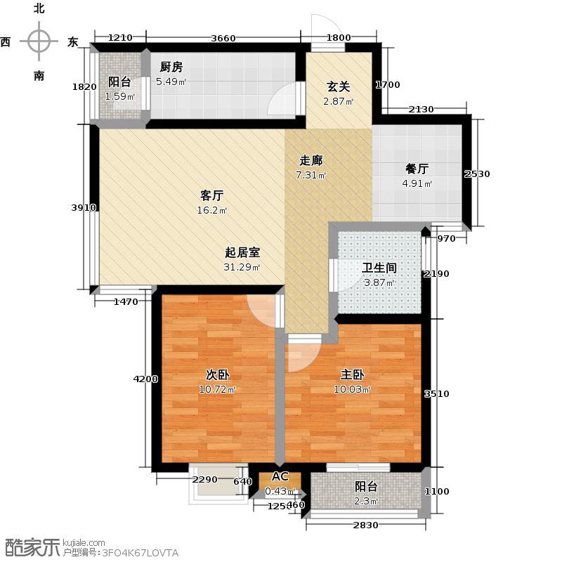 路劲御景城87.00㎡两室两厅一卫87平米F户型