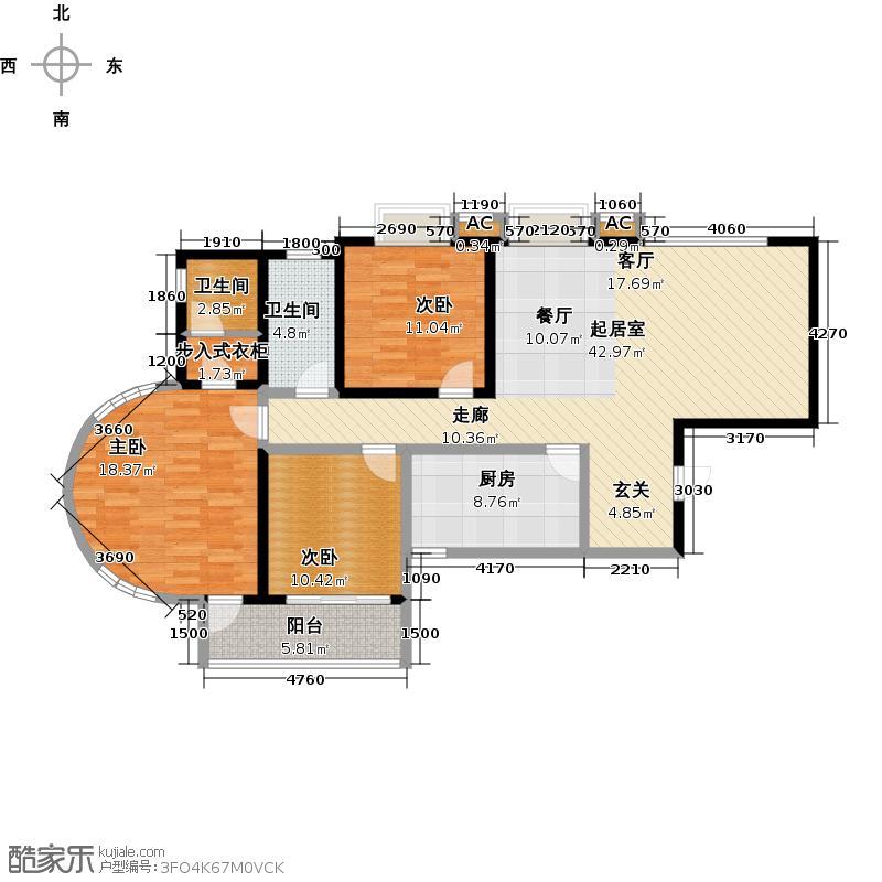 路劲御景城三室两厅两卫139平米D户型