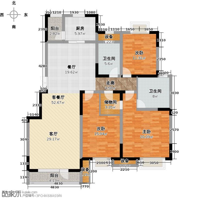 颐贤里167.00㎡三室两厅两卫户型3室2厅2卫