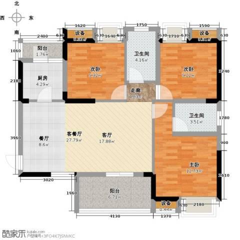 清江山水3室1厅2卫1厨112.00㎡户型图