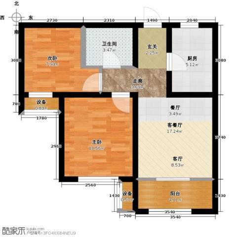 旭辉朗悦湾2室1厅1卫1厨84.00㎡户型图