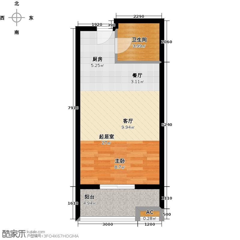 路劲御景城49.00㎡11号楼G户型约49平米一室一厅一卫户型