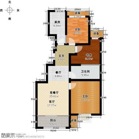 旭辉朗悦湾3室1厅1卫1厨90.00㎡户型图