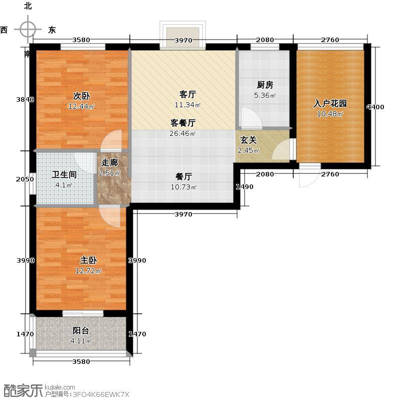 曦华佳苑87.02㎡D1户型 两房两厅一卫户型2室2厅1卫