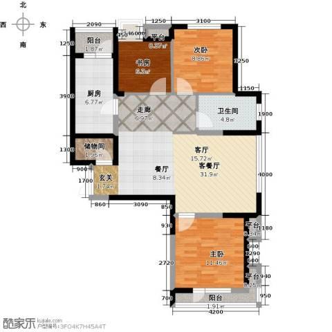 保利达江湾城3室1厅1卫1厨113.00㎡户型图