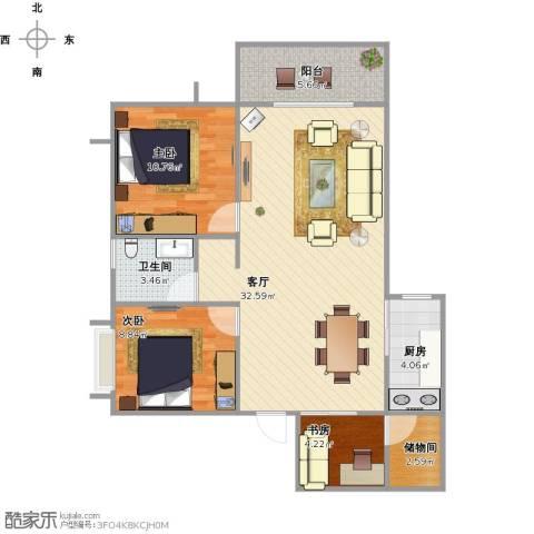 京仕柏豪庭3室1厅1卫1厨97.00㎡户型图