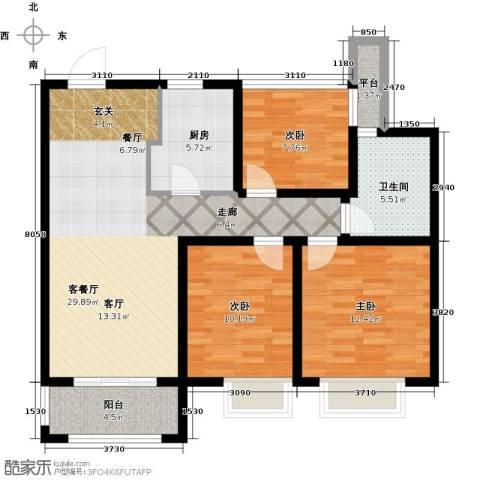 招商依山郡3室1厅1卫1厨89.00㎡户型图