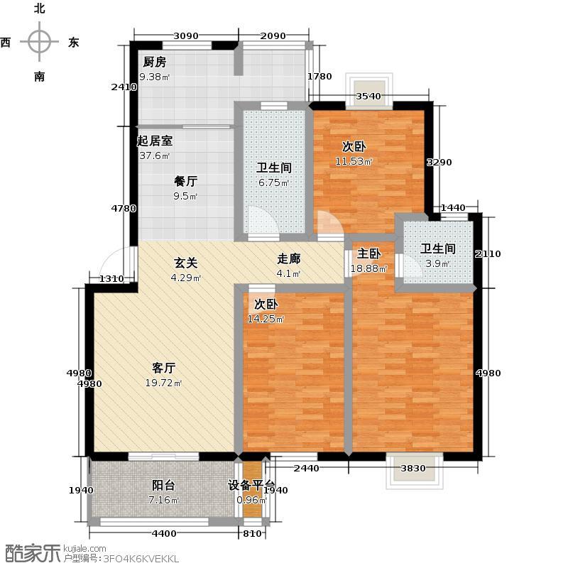 中建海德壹号125.00㎡C户型3室2厅2卫