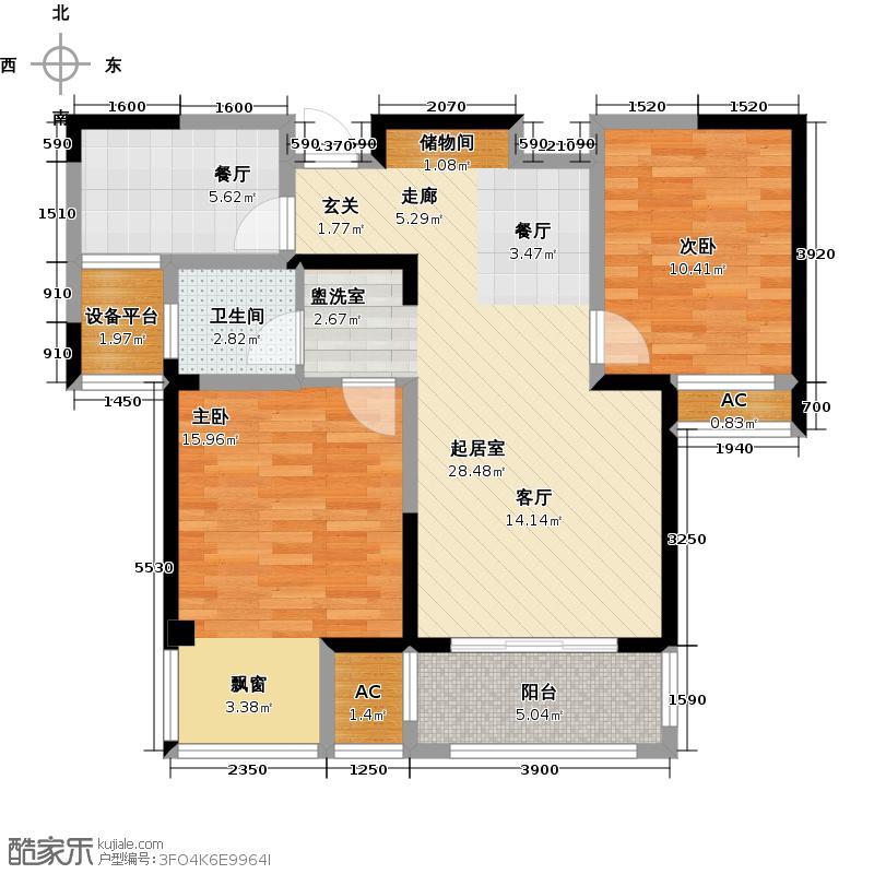 越湖家天下86.00㎡D户型86平米两室两厅一卫户型2室2厅1卫