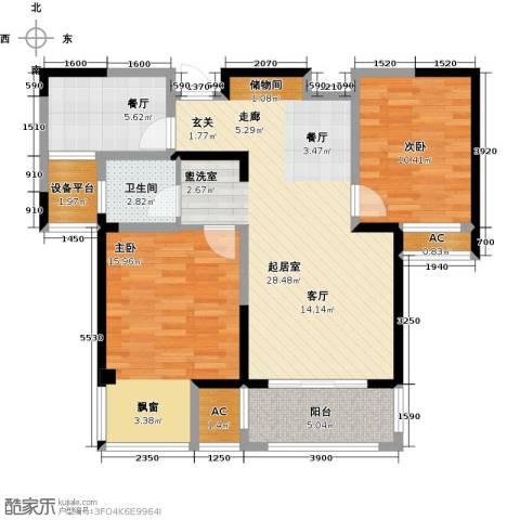 越湖家天下2室1厅1卫0厨84.00㎡户型图