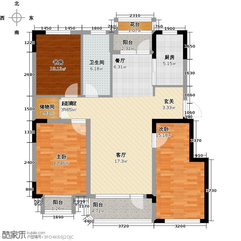 碧水轩亭116.00㎡三室两厅一卫116平米户型图户型3室2厅1卫