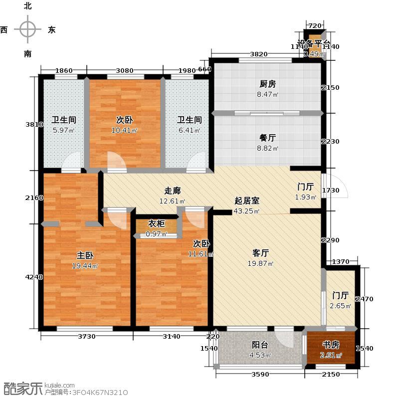 亿达第一郡133.60㎡四室两厅两卫133.6平米户型图户型4室2厅2卫