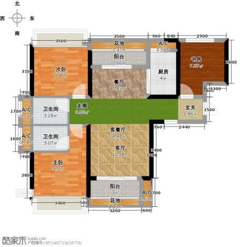 太东・明月湾3室1厅2卫1厨91.00㎡户型图