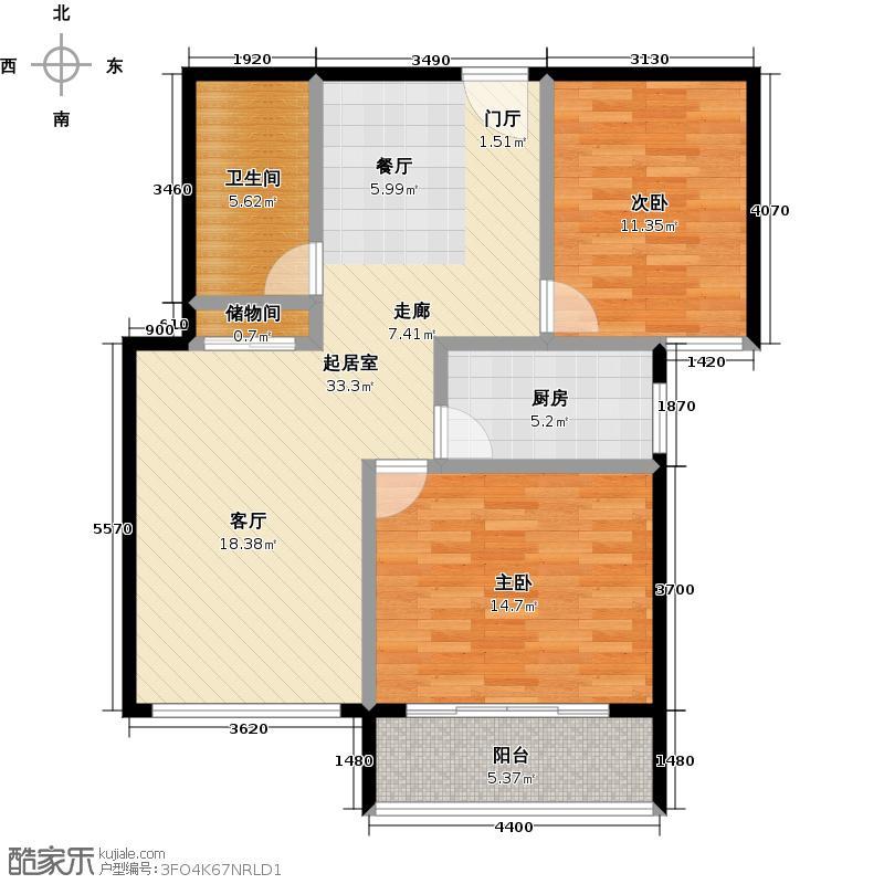通德紫垣2号B制作 两室两厅一卫 86.24平米户型