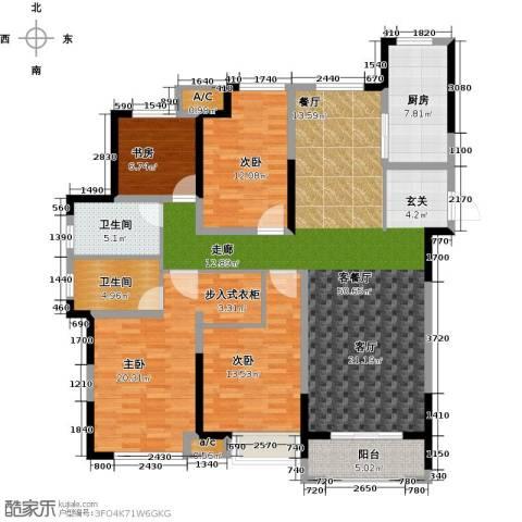观湖壹号4室1厅2卫1厨143.00㎡户型图