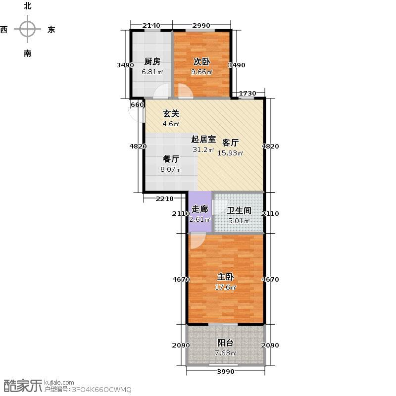 外海中央花园E9型两室两厅一卫82.44平户型
