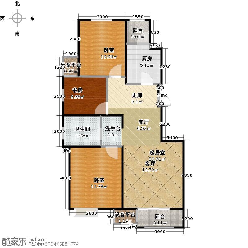 澜湾半岛99.73㎡澜湾半岛一期1-5-6-8号楼标准层D户型3室2厅1卫