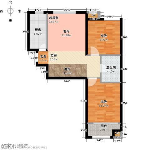 和泓四季恋城2室0厅1卫1厨78.00㎡户型图