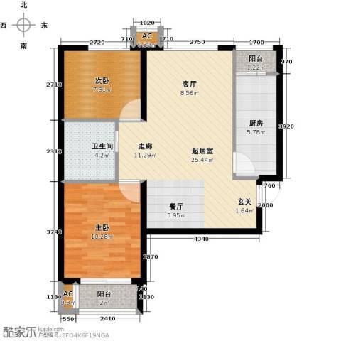 和泓四季恋城2室0厅1卫1厨81.00㎡户型图