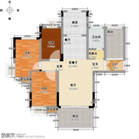 江报翰林世家3室1厅1卫1厨105.00㎡户型图