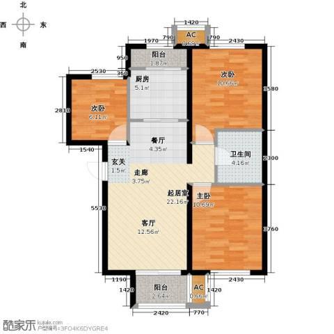 和泓四季恋城3室0厅1卫1厨93.00㎡户型图