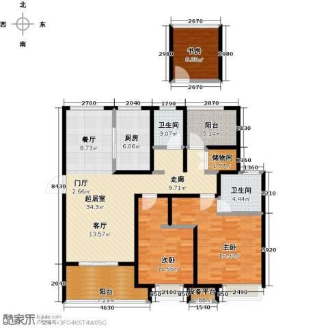 绿地中央广场3室0厅2卫1厨112.00㎡户型图