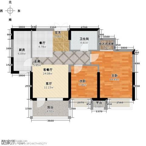 保利达江湾城2室1厅1卫1厨89.00㎡户型图